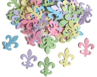 100 Fleur De Lis Punch Cut, Die Cut Embellishments, Scrapbooking,Weddings,  Confetti, Table Decorations