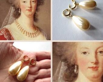 18th Century Pearl Earrings, Georgian Earrings, Pearl Hoop Dangle Earrings, Rococo Earring, Marie Antoinette earring, Elizabethan Pearl