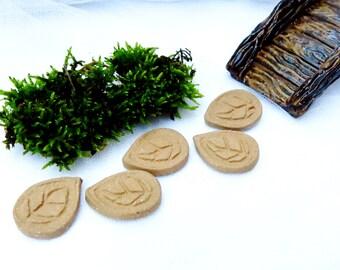 Ceramic Fairy Garden Stepping Stones / Pottery Fairy Leaf Patio Blocks / Doll House / Woodland Garden Accent / Handmade Terrarium Accessory