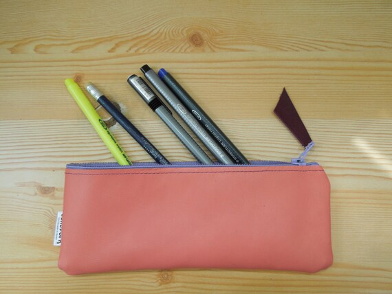 Leather pencil case, leather pencilcase, leather pouch, pink leather, pink pencil case, leather case,leather coin purse,purple pencil case