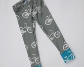 Bicycle Baby Leggings - Organic Cotton 03 6 9 12 months Bikes for Baby Boy or Girl