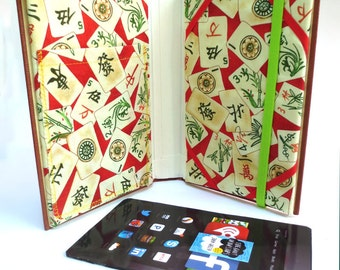 Asian Style Kindle Book Case, Made from Peal S. Buck Book, with Mahjong Print Lining [Fits Kindle Paperwhite, HD6, Voyage, Basic ]