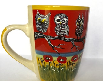 Owls and Poppy flowers - Cute Mug - Owl Mugs - Owl Art - Hand painted - Owl Lover gifts - Red Poppies