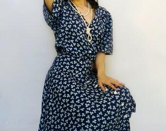 Blue Floral Dress - 1940s Style - Blue Dress - Vintage