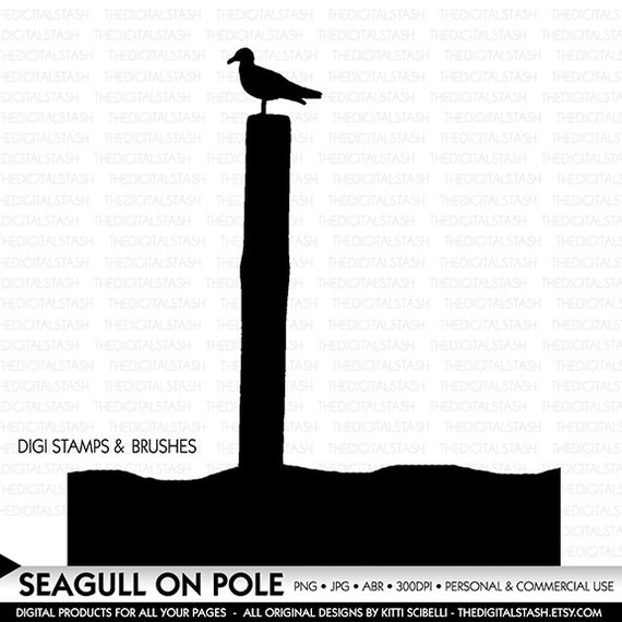 Seagull on Pole - Mask - Silhouette - Digital Stamp and Brush - INSTANT DOWNLOAD for Cards, Collage, Invites, Scrapbooking, Crafts and More