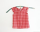 Red and white gingham women summer blouse, cap sleeve top italian fabric voile, 100% cotton. Sizes S to XL. Made to order.