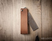 Men's Gift, Men's Birthday Gift, Groomsmen Gift, Stainless Steel Comb with Bottle Opener and Leather Sleeve, Leather comb sleeve 055