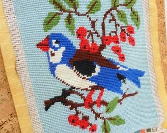 Blue Bird Finished Needlepoint Canvas Country Cottage Farmhouse Decor