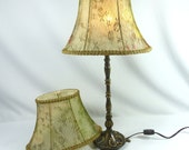 Lamp Shade Oval Bell Pair Silk Floral Lace Hand Made NY