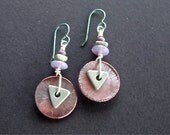 Green Turquoise and Purple Copper Dangle Earrings