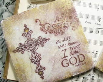 Art Coasters - Be Still & Know That I Am GOD Psalm 46:10 Christian Art Religious Art Cross Coasters Set of 4