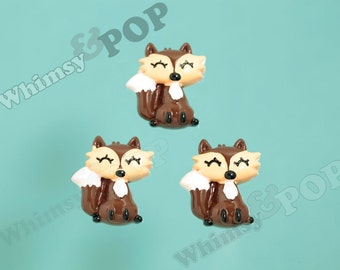 4 - Kawaii Brown Fox Resin Cabochons, Fox Cabochons, Animal Cabochons 21mm x 28mm (R8-074)