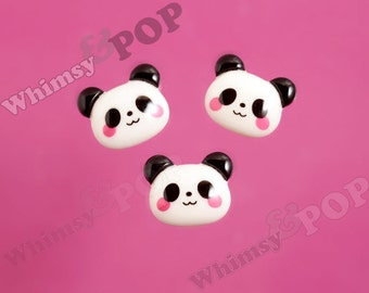 Blushing Black and White Panda Bear Head Cabochon, Panda Cabochons, 21mm x 17mm (R6-017)