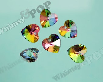 10 - Foil Back Vitrail Rainbow Heart Multi-Faceted Glass Crystal Beads, Glass Heart Beads, 14mm (R8-055)