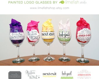 Custom Painted LOGO Glasses . Personalized . Wine Glasses . Beer Steins . Corporate Gifts . Business Gifts