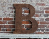 "24"" Wooden Letter B, Classic Font in Distressed Chestnut Stain - all letters available in many colors"