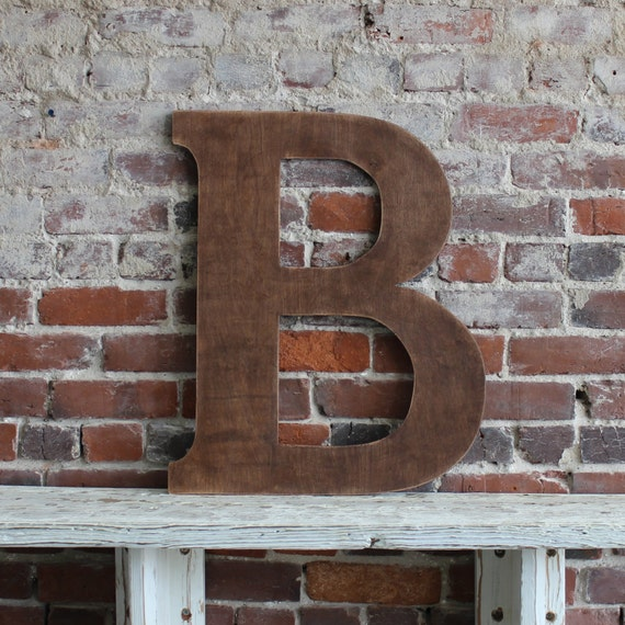 """24"""" Wooden Letter B, Classic Font in Distressed Chestnut Stain - all letters available in many colors"""