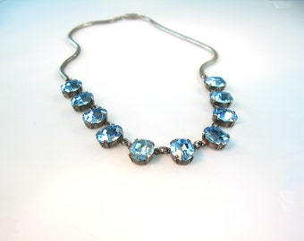 Crystal Choker Necklace. Silver Snake Chain. Hollywood Regency. Aqua Blue Rhinestone Jewelry. Vintage Sterling 1940's 50s Wedding Jewelry