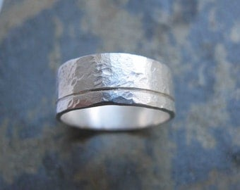 Men's silver band ring - Men's textured wedding band ring