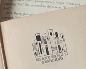 Self-Inking BOOKPLATE stamp or wood handle stamp personalized library stamp - This book belongs to from the library of stamper