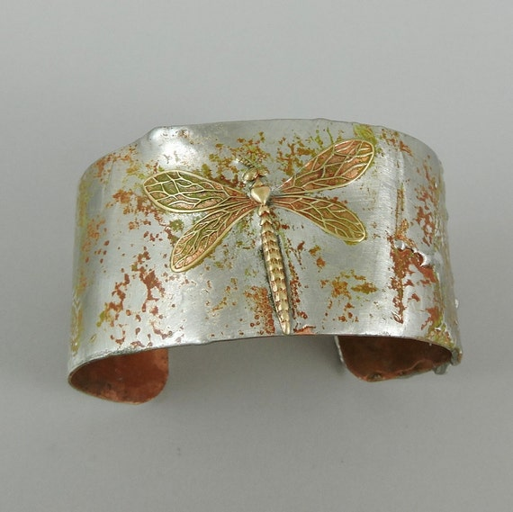 Stamped solder dragonfly cuff bracelet copper cuff dragonfly for How to solder copper jewelry