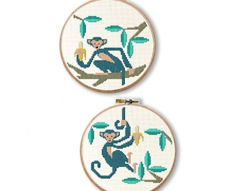 Monkey Cross Stitch Pattern Modern Needlepoint Digital Download Embroidery Chart