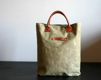 Waxed canvas bag - waxed canvas tote - waxed canvas handbag - wax canvas bag - everyday bag - mens bag - handmade bag - Valentine's Day