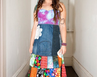 patchwork dress....recycled ..upcycled bohemian babe