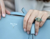 Michal Golan enamel and Turquoise Evil Eye adjustable  Ring