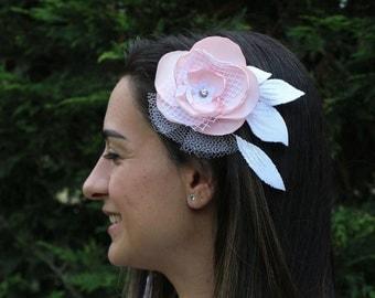 Bridal Hair Flower Fascinator Head Piece Fabric Corsage Pin Double Usage Romantic Modern Beach Wedding Handmade