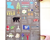 18 x 24 inch Louisiana State Symbols Art Print, State, Louisiana, History, Culture, State Capital, Red Arrow, Louisiana Love