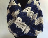 Navy and White Chevron Crocheted Infinity Scarf