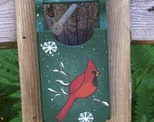 Cardinal ornament, Hand painted, wood sled, Christmas ornament, bird decor, country christmas, woodland christmas, CIJ
