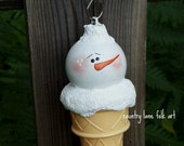 CIJ, Snowman ice cream cone ornament, hand painted, Christmas tree ornament