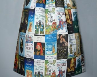 Shakespeare book covers skirt - made to order