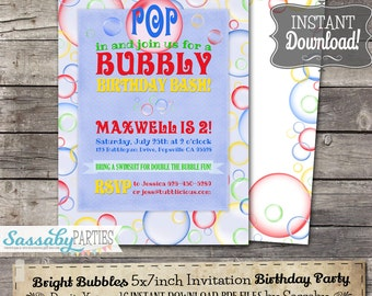 Bright Bubbles Invitation - INSTANT DOWNLOAD -  Editable & Printable Bubbly Birthday Bash Party Invite by Sassaby Parties