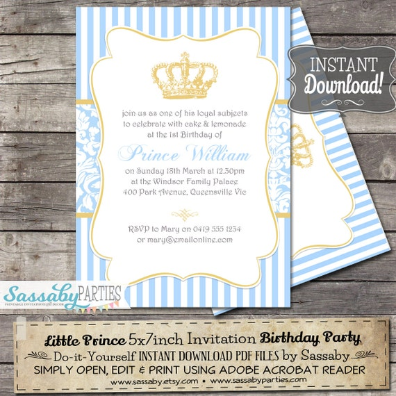 Little prince birthday party invitation instant download il570xn stopboris Choice Image