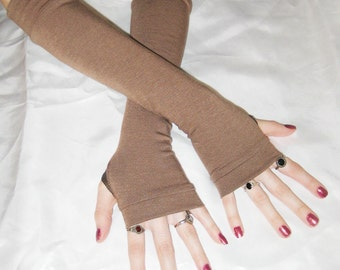 Brown Arm Warmers Fingerless gloves - Mocha - Armwarmers Belly Dance gothic goth fusion dancing sleeves soft cotton knit glove hand fasting