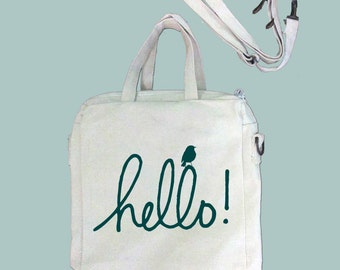 Hellow with Bird, ANY COLOR Print, Typography Canvas Purse, Tablet Bag/Carrier, Cosmetic Case -- Removable, Adjustable shoulder strap