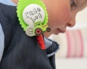 Best Little Man or Page Boy Tractor Buttonhole Boutonniere Wedding Personalised Text