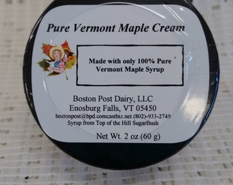 100 percent Pure Vermont Maple Cream/ Made with Vermont Maple Syrup 2 oz