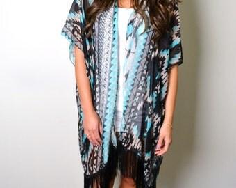 Turquoise Boho Cover up, Kimono, plus size, Tunic, Wrap, Shawl, Fringe kimono, Aztec, Southwestern Boho Fringe Kimono, Plus size kimono