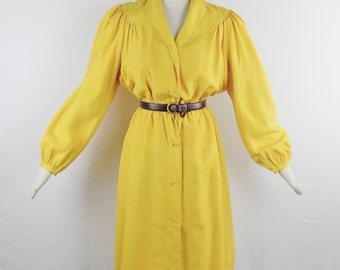 Vintage 1970s HALSTON SHANTUNG SILK Day Dress Canary Yellow Size 6 Statement Vintage