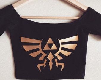 Zelda Hyrule Spandex Off-Shoulder Crop Top by So Effing Cute - Made in USA