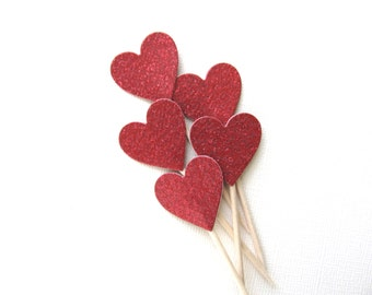 Red Glitter Heart Cupcake Toppers, Party Decor, Double-Sided, Weddings, Showers, Love, Valentine's Day Decor, Set of 15