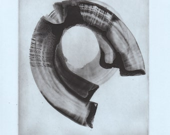 "CIJ SALE  - 50% OFF. use code { CIJSALE50} Pale Blue and Black Etching Print : ""Oculus"". Print Size 11"" x 13"". unframed"