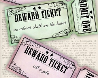 Printable Reward Tickets for Teachers elementary School back to school rewards digital collage sheet instant download - VDMIVI1179