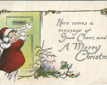 Little Girl in Red Coat Mailing Merry Christmas Card Vintage Postcard Linen 1930's