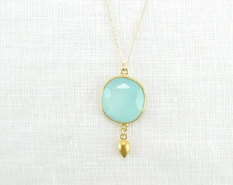 Aqua Chalcedony Drop Necklace - Gemstone Necklace - Gold Necklace