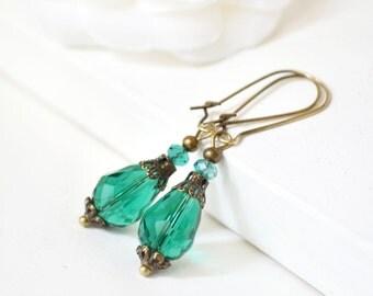 Green Crystal earrings green dangle drops earring Forest green teardrop earrings  Bohemian earrings, eco friendly jewelry malachite green